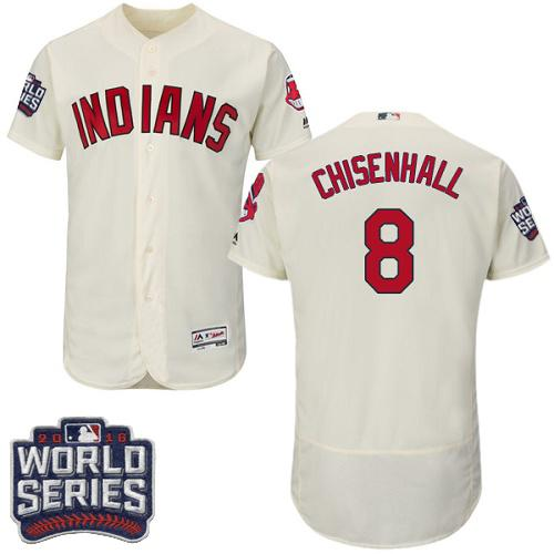 Cleveland Indians 8 Lonnie Chisenhall Cream Flexbase Authentic Collection 2016 World Series Bound MLB Jersey