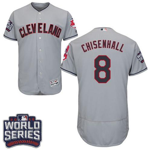 Cleveland Indians 8 Lonnie Chisenhall Grey Flexbase Authentic Collection 2016 World Series Bound MLB Jersey
