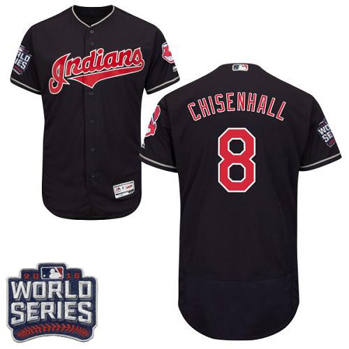 Cleveland Indians 8 Lonnie Chisenhall Navy Blue Flexbase Authentic Collection 2016 World Series Bound MLB Jersey