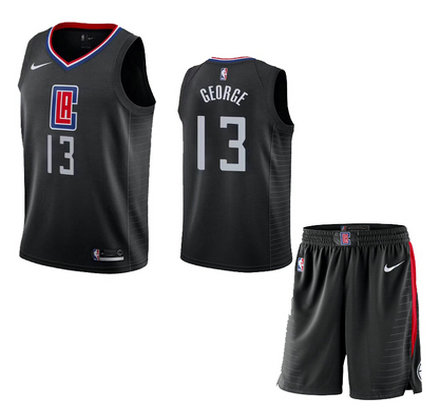 Clippers 13 Paul George Black City Edition Nike Swingman Jersey(With Shorts)