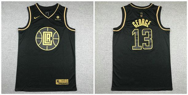 Clippers 13 Paul George Black Gold Nike Swingman Jersey