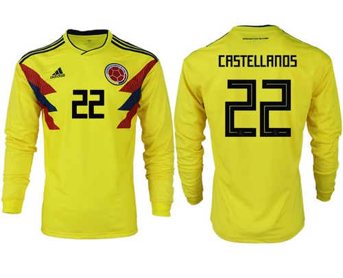 Colombia #22 Castellanos Home Long Sleeves Soccer Country Jersey