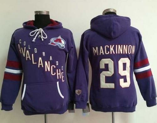 Colorado Avalanche 29 Nathan MacKinnon Purple Old Time Heidi Women NHL Hoodie