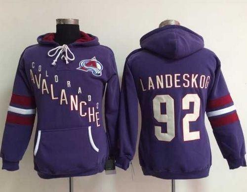 Colorado Avalanche 92 Gabriel Landeskog Purple Old Time Heidi Women NHL Hoodie