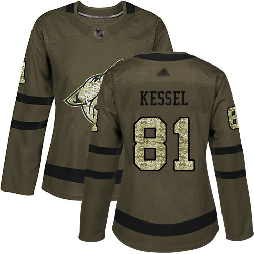Coyotes #81 Phil Kessel Green Salute to Service Women's Stitched Hockey Jersey