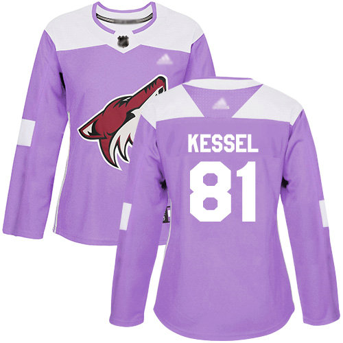 Coyotes #81 Phil Kessel Purple Authentic Fights Cancer Women's Stitched Hockey Jersey