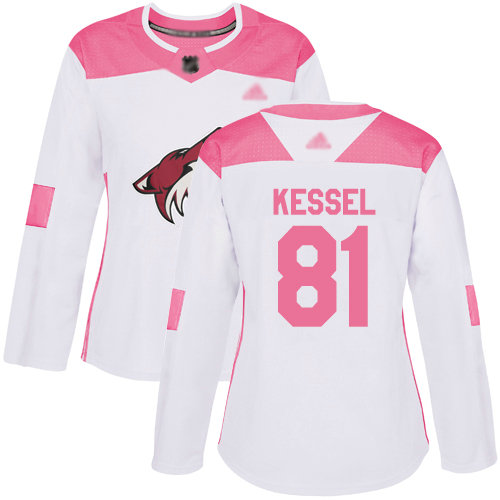 Coyotes #81 Phil Kessel White Pink Authentic Fashion Women's Stitched Hockey Jersey