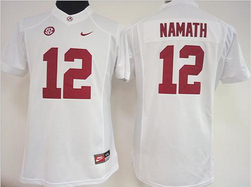 Crimson Tide #12 Joe Namath White Women's Stitched NCAA Jersey