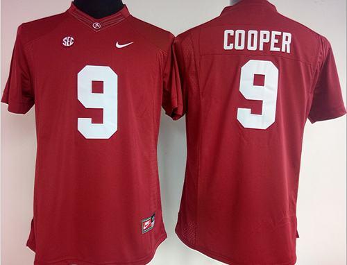 Crimson Tide #9 Amari Cooper Red Women's Stitched NCAA Jersey