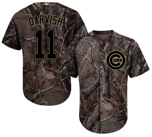 Cubs #11 Yu Darvish Camo Realtree Collection Cool Base Stitched Youth Baseball Jersey