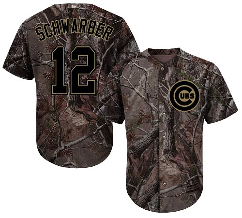 Cubs #12 Kyle Schwarber Camo Realtree Collection Cool Base Stitched Youth Baseball Jersey