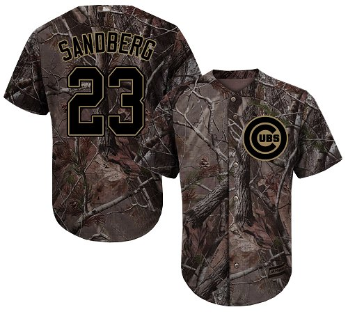 Cubs #23 Ryne Sandberg Camo Realtree Collection Cool Base Stitched Youth Baseball Jersey