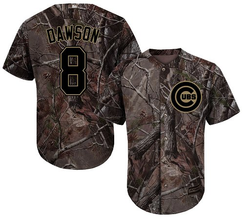 Cubs #8 Andre Dawson Camo Realtree Collection Cool Base Stitched Youth Baseball Jersey