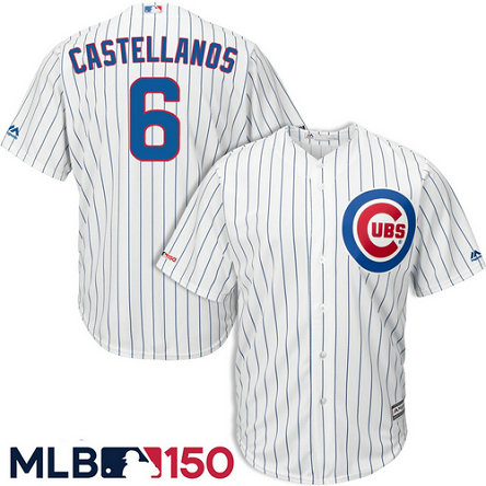 Cubs 6 Nick Castellanos White 150th Patch Cool Base Jersey