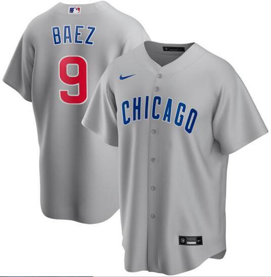 Cubs 9 Javier Baez Gray 2020 Nike Cool Base Jersey