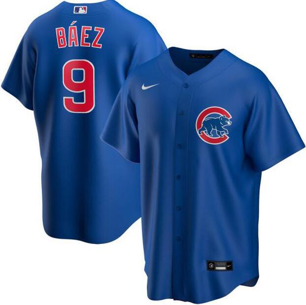 Cubs 9 Javier Baez Royal 2020 Nike Cool Base Jersey