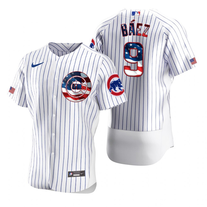 Cubs 9 Javier Baez White USA Flag Fashion Nike Cool Base Jersey