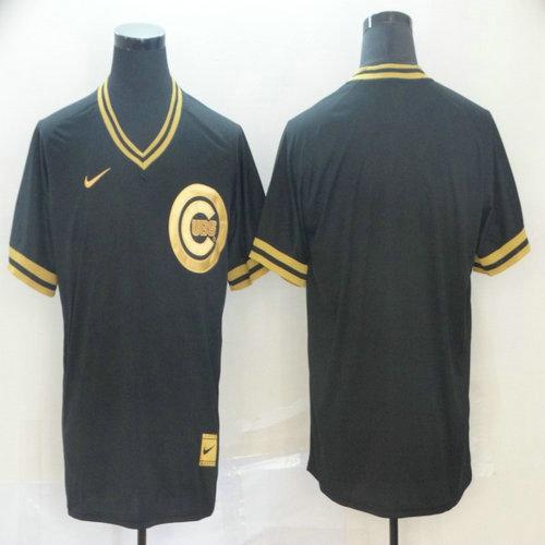 Cubs Blank Black Gold Nike Cooperstown Collection Legend V Neck Jersey