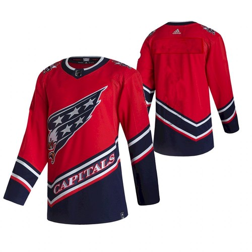 Custom Men's Washington Capitals Team 2021 Reverse Retro Red Jersey