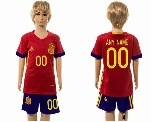 Custom Youth 2016 European Cup series Spain home soccer jerseys