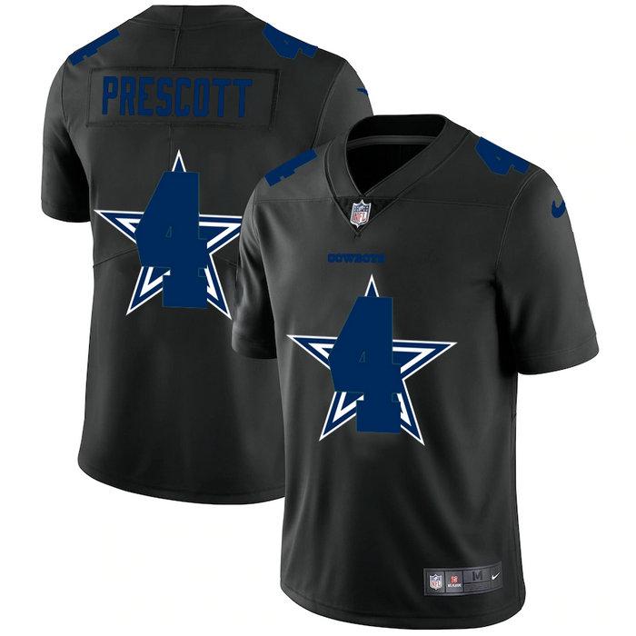 Dallas Cowboys #4 Dak Prescott Men's Nike Team Logo Dual Overlap Limited NFL Jersey Black