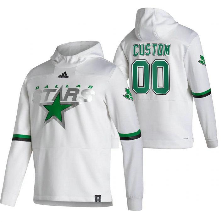 Dallas Stars Custom Adidas Reverse Retro Pullover Hoodie White