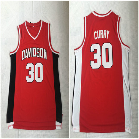 Davidson Wildcat 30 Stephen Curry Red Stitched College Basketball Jersey