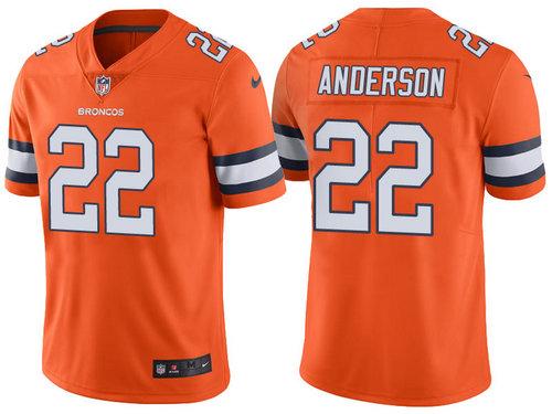 Denver Broncos 22 C.J. Anderson Orange Color Rush Limited Jersey