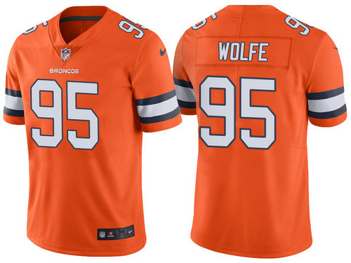 Denver Broncos 95 Derek Wolfe Orange Color Rush Limited Jersey