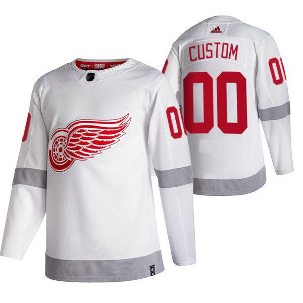 Detroit Red Wings Custom White Men's Adidas 2020-21 Reverse Retro Alternate NHL Jersey