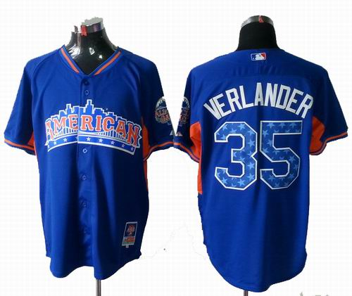 Detroit Tigers #35 Justin Verlander American League 2013 All Star blue Jersey