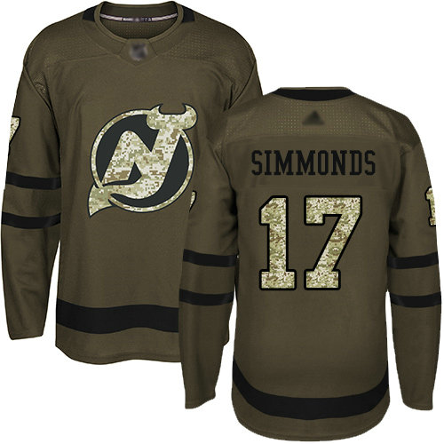 Devils #17 Wayne Simmonds Green Salute to Service Stitched Hockey Jersey