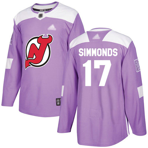 Devils #17 Wayne Simmonds Purple Authentic Fights Cancer Stitched Hockey Jersey