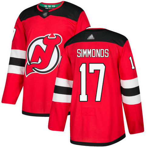 Devils #17 Wayne Simmonds Red Home Authentic Stitched Hockey Jersey