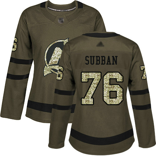 Devils #76 P. K. Subban Green Salute to Service Women's Stitched Hockey Jersey