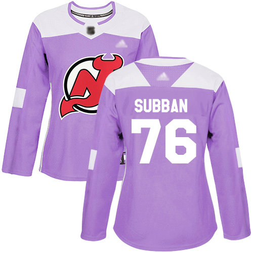 Devils #76 P. K. Subban Purple Authentic Fights Cancer Women's Stitched Hockey Jersey