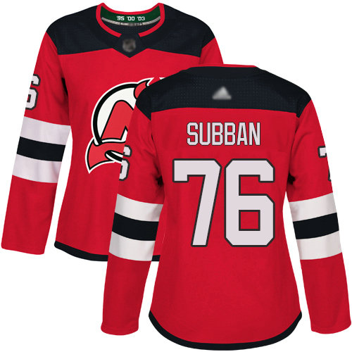 Devils #76 P. K. Subban Red Home Authentic Women's Stitched Hockey Jersey