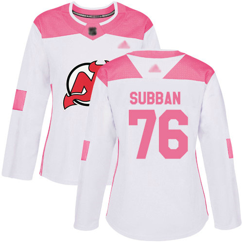 Devils #76 P. K. Subban White Pink Authentic Fashion Women's Stitched Hockey Jersey