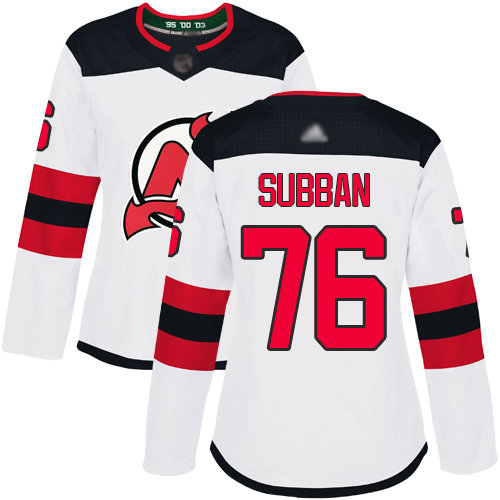 Devils #76 P. K. Subban White Road Authentic Women's Stitched Hockey Jersey