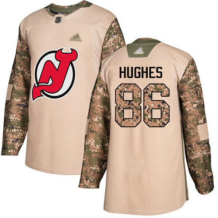 Devils #86 Jack Hughes Camo Authentic 2017 Veterans Day Stitched Youth Hockey Jersey