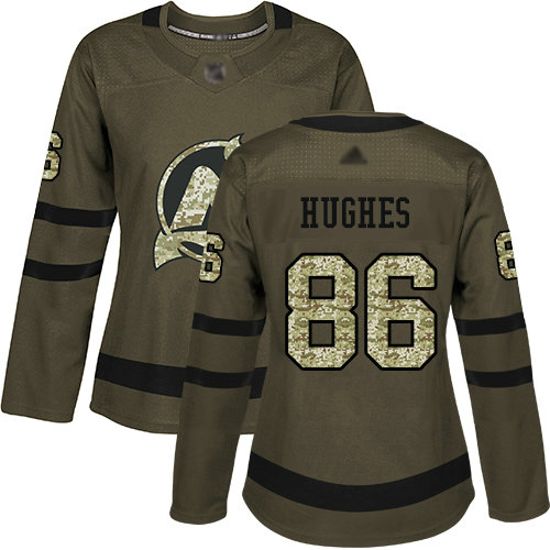 Devils #86 Jack Hughes Green Salute to Service Women's Stitched Hockey Jersey