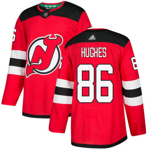 Devils #86 Jack Hughes Red Home Authentic Stitched Hockey Jersey