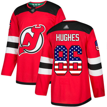 Devils #86 Jack Hughes Red Home Authentic USA Flag Stitched Hockey Jersey