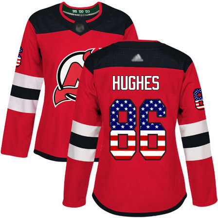 Devils #86 Jack Hughes Red Home Authentic USA Flag Women's Stitched Hockey Jersey