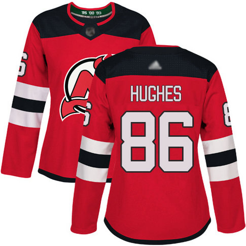Devils #86 Jack Hughes Red Home Authentic Women's Stitched Hockey Jersey