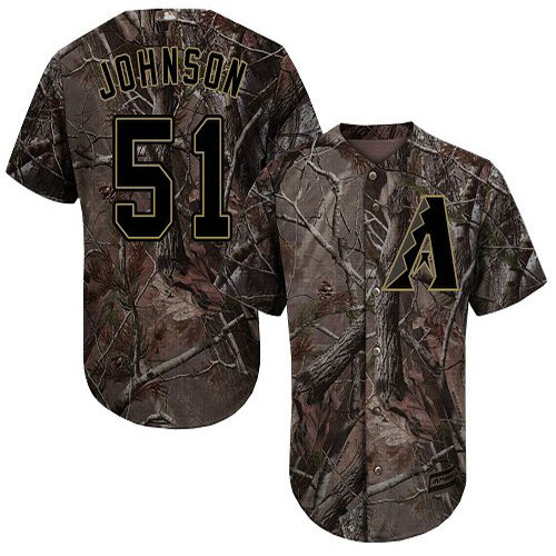 Diamondbacks #51 Randy Johnson Camo Realtree Collection Cool Base Stitched Youth Baseball Jersey