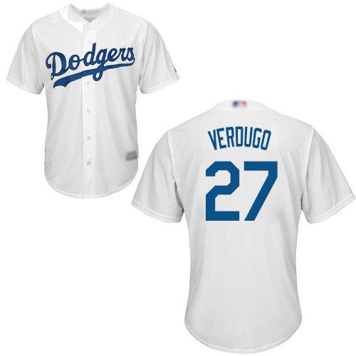 Dodgers #27 Alex Verdugo White Cool Base Stitched Youth Baseball Jersey