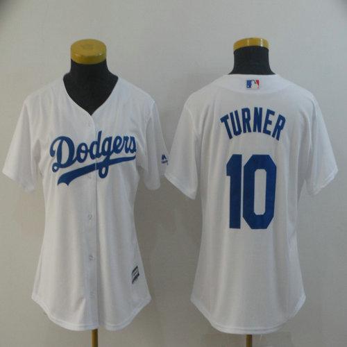 Dodgers 10 Justin Turner White Women Cool Base Jersey