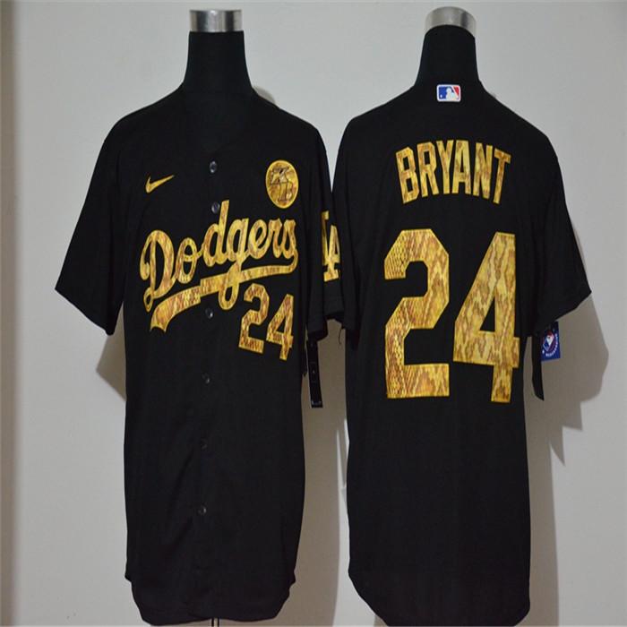 Dodgers 24 Kobe Bryant Black Gold 2020 Nike KB Cool Base Jersey