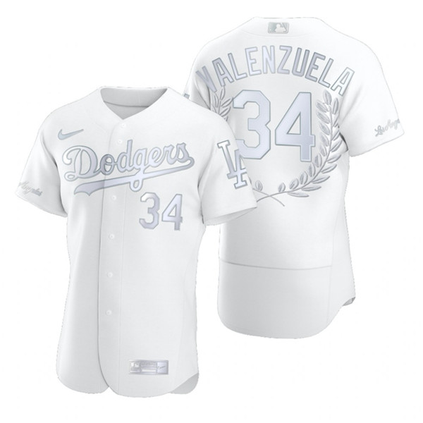 Dodgers 34 Fernando Valenzuela White Nike Flexbase Fashion Jersey